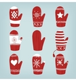 Set of Christmas Mittens vector image
