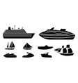 set of different types of boats for recreation and vector image