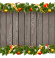 Seamless Christmas Old Board with Decorations vector image