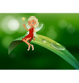 A fairy with a wand sitting at the leaf vector image