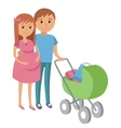 Pregnant woman and her husband on shopping vector image