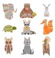 Animals Wearing Tribal Clothing Set vector image