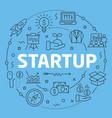 blue line flat circle startup vector image