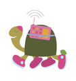 Cute turtle with radio vector image