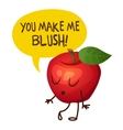 Red apple character says You make me blush vector image