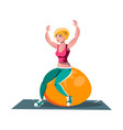 woman working out on fitness ball vector image