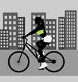 female cyclist black silhouette vector image