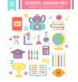 back to school design set of cartoon items vector image