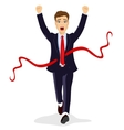 young business man crossing the finish line vector image