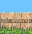 Wooden fence and blue sky Old wooden planks and vector image