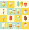 Flat set of tasty summer ice creams vector image