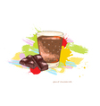 glass of chocolate milk vector image vector image