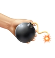 Hand Holding A Bomb vector image