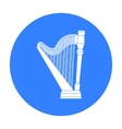 Harp icon in black style isolated on white vector image
