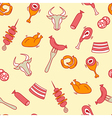 Meat seamless pattern with eat elements sausage vector image