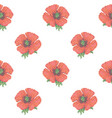 seamless pattern with cross stitch red poppies vector image