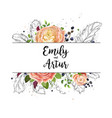 wedding watercolor floral invitation card design vector image
