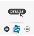 Details with cursor pointer icon More symbol vector image