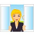 girl in window vector image
