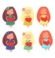 cute little girls vector image