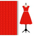 dress fabric with red arabic pattern vector image