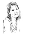 Drawing sketch of asian girl portrait vector image
