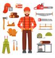 Lumberjack Decorative Flat Icons Set vector image