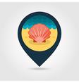 Seashell pin map icon Summer Vacation vector image