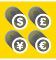 dollar euro yen and pound icons Signs vector image