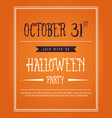 poster halloween on orange background vector image