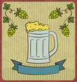 Vintage card with glass mug beer vector image