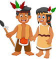 funny couple indian tribal cartoon vector image vector image