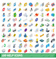 100 help icons set isometric 3d style vector image