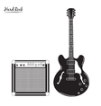 electric guitar and combo amp hard rock vector image