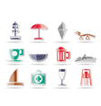 beach and holiday icons vector image