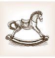 Vintage rocking horse sketch vector image