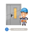 Technical Door and Worker vector image