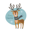 cute merry christmas deer greeting card vector image