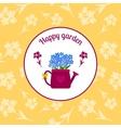 Happy garden circle sticker design vector image