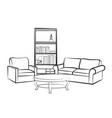 interior furniture sofa table book shelf living vector image