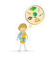 kids thinking of school vector image