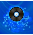 Retro Vinyl Disc on Blue Background vector image