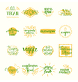 Vegan Retro Elements Set vector image