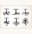 vintage set capital letter t for monograms and vector image