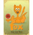 Vintage retro Card with Cartoon Fox vector image vector image
