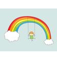 swinging on rainbow vector image