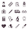 digital black medical icons vector image