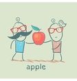 girl and boy holding an apple vector image vector image
