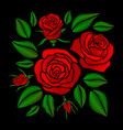 embroidered red rose flowers set vector image