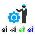 engineer with gear flat icon vector image